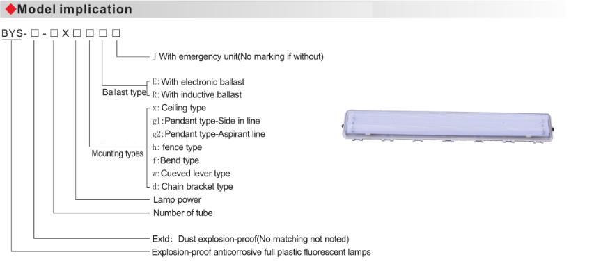 BYS Explosion Proof Anticorrosive Full Plastic Fluorescent Lamp